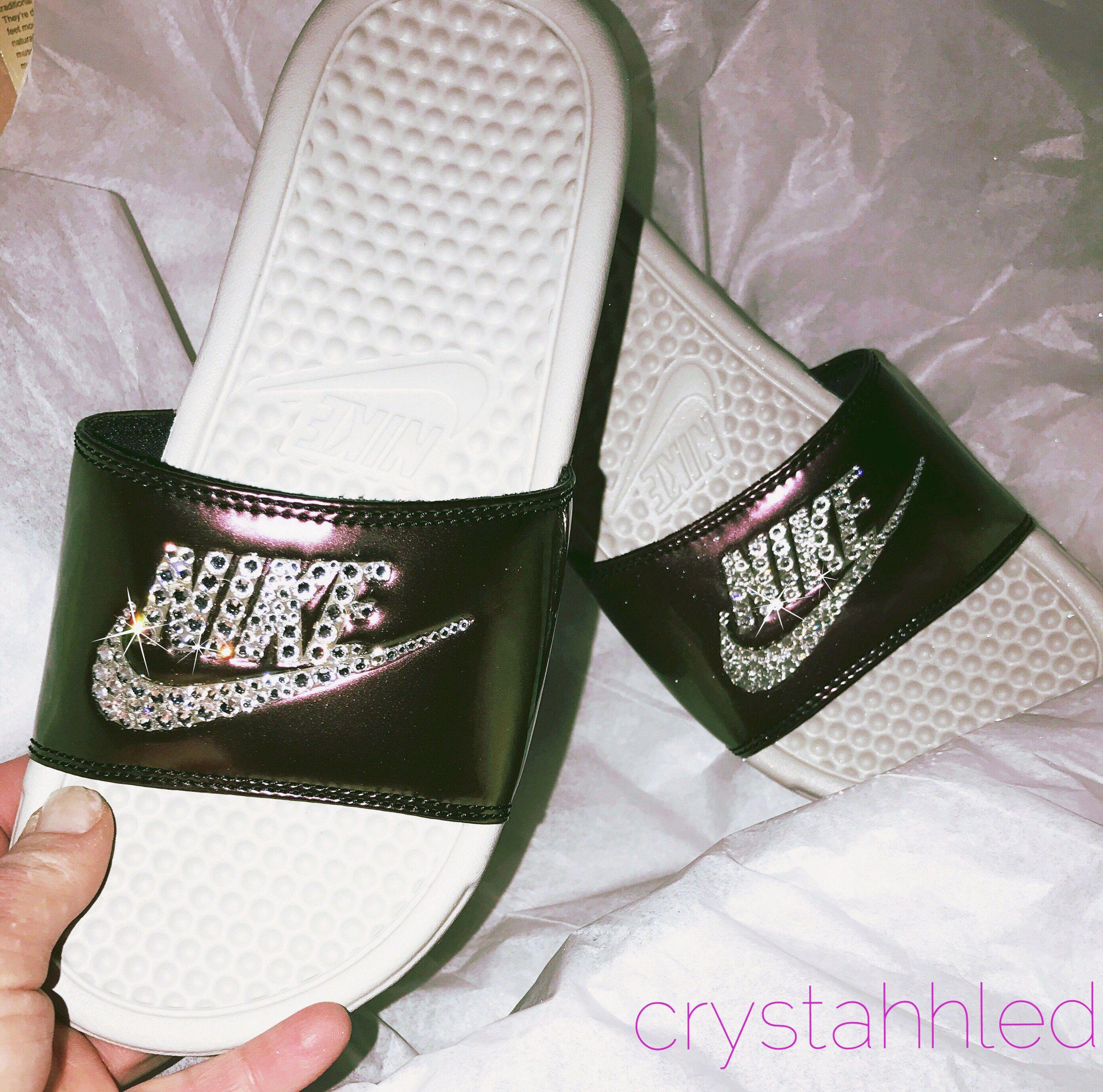 Womens Nike Benassi Slides with Swarovski crystals-bling slides-Swarovski  Nike-Bling slides