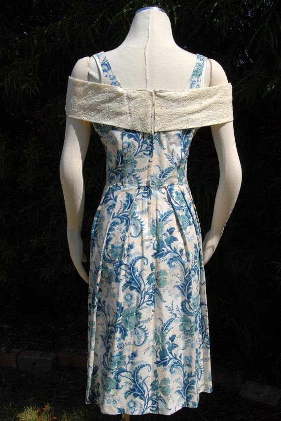 Ophelia Dress Blue Floral Print with Embroidered Cotton by Jezenya
