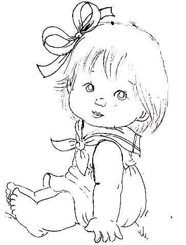 Desenho Bebe Menina Com Coelhinho Para Pintar Coisas Para