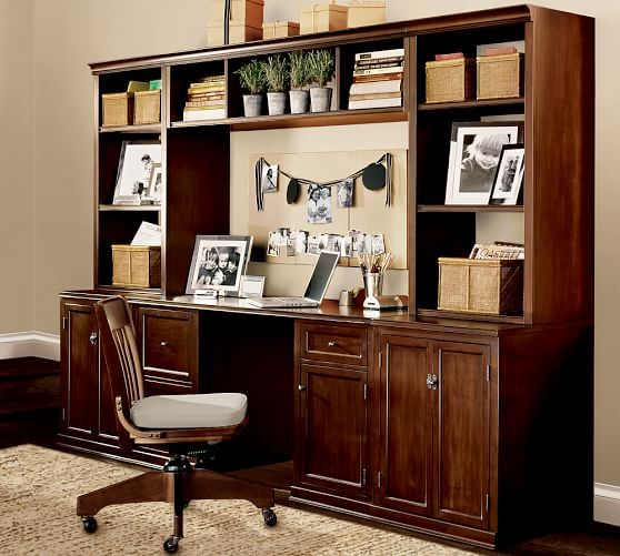 Logan Desk | Pottery Barn   Use Frosted Glass Hutches, Put Battery Operated  Lighting In