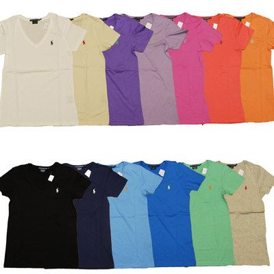 Polo Ralph Lauren Womens T Shirt Solid V Neck Pony Logo Tee S S