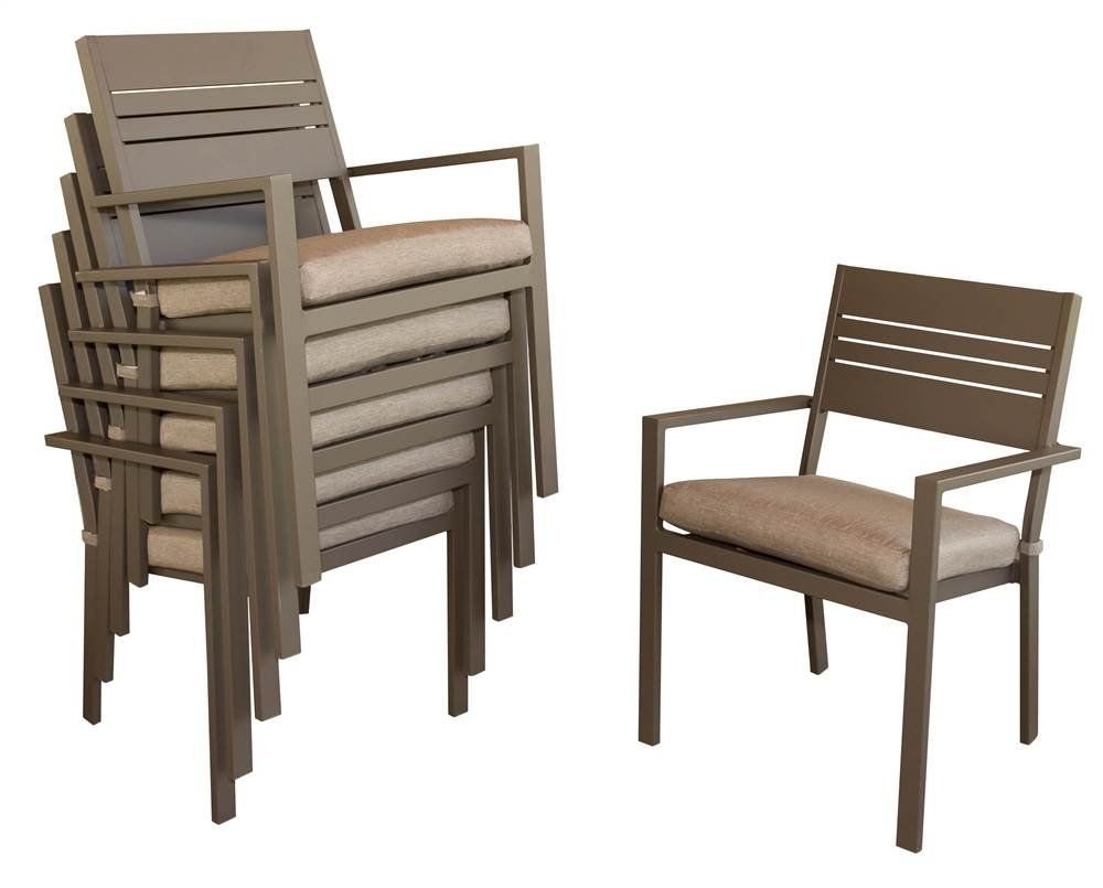 Stackable Outdoor Dining Chairs with Cushion - Set of 6. Set of 6. Contemporary style. Weather resistant outdoor seat cushion and comfortable sloped back. Slatted seat platform. Stackable chairs.