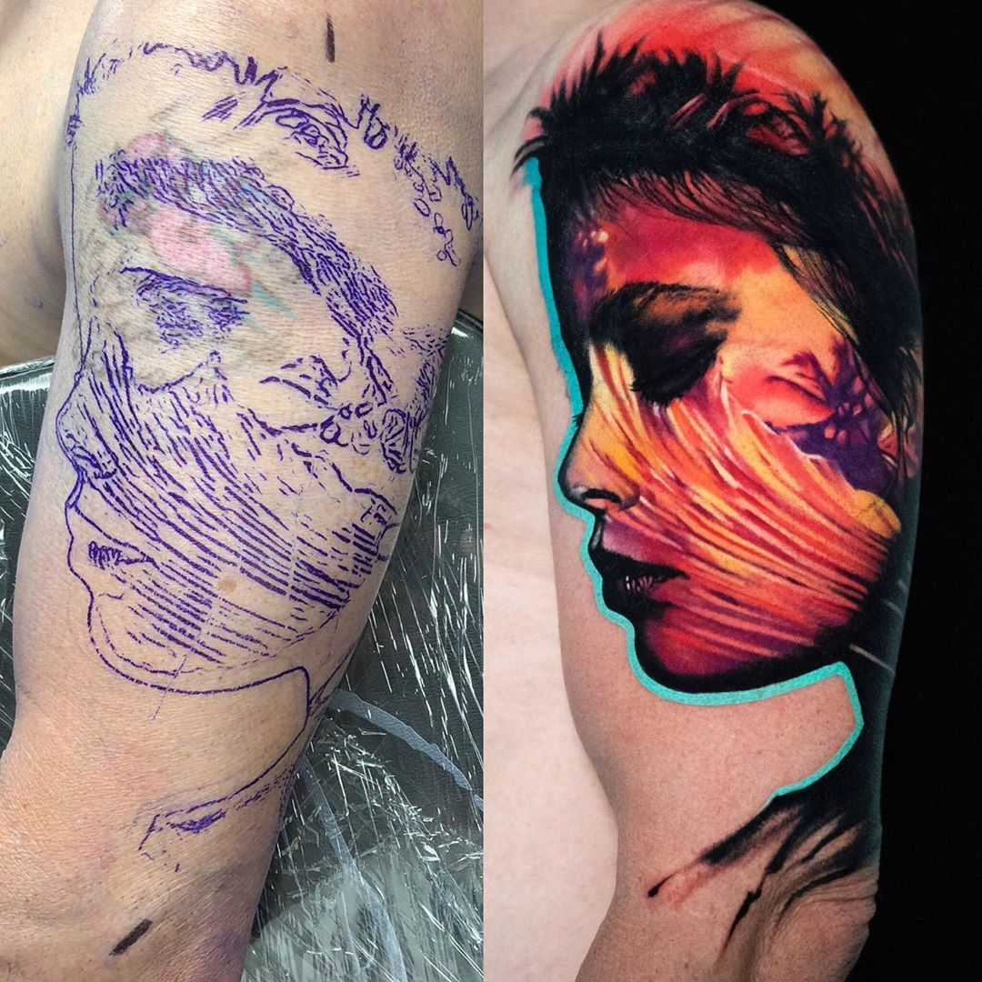 Stencil ▪️Tattoo . #surf #sunsetbeach #sunsettattoo #surftattoo #palmtree #beach #inked #tattooartistmagazine #cheyenne_tattooequipment…