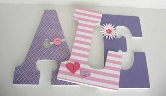 Baby Nursery Wall Letters Pink And Purple Custom Wood