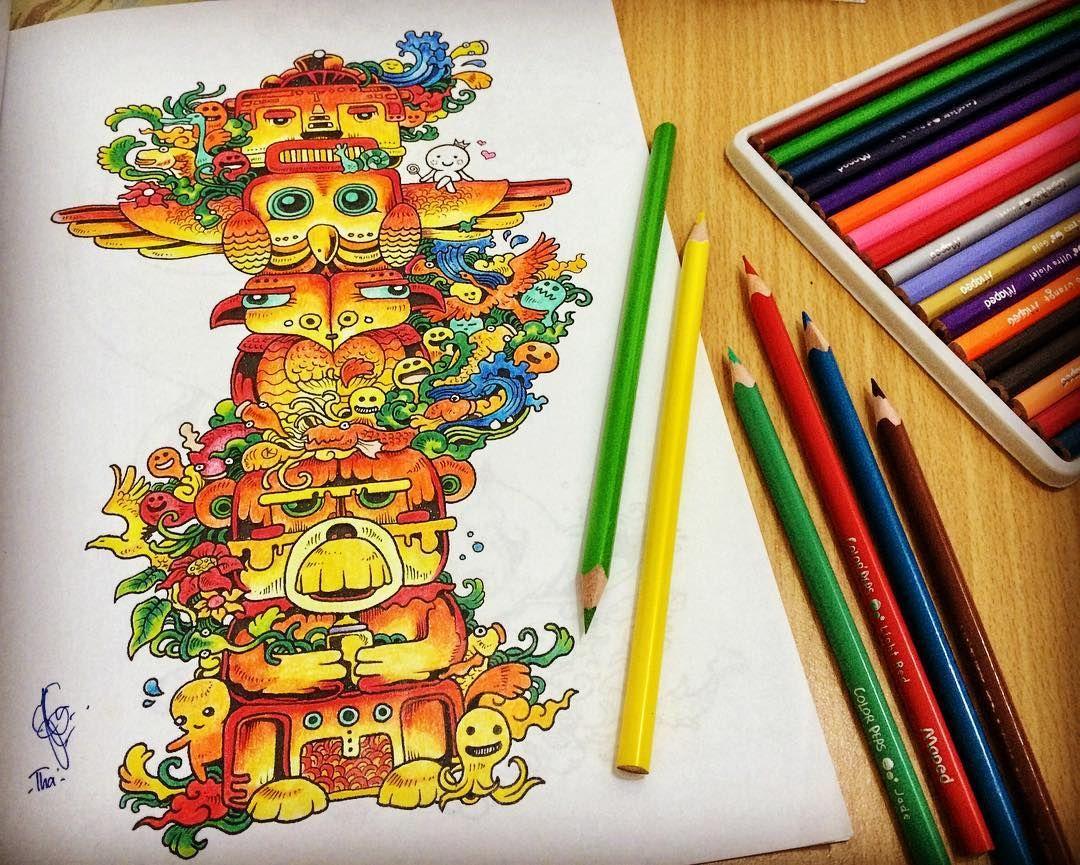 doodleinvasion doodleart coloring coloringbook coloringforadults gambar mewarnai instamag