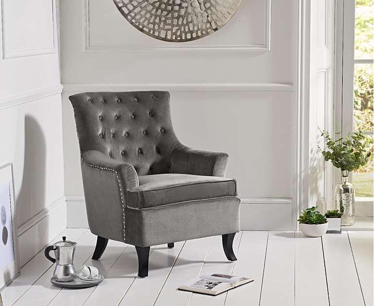 Belsize grey velvet armchair accent chairs velvet