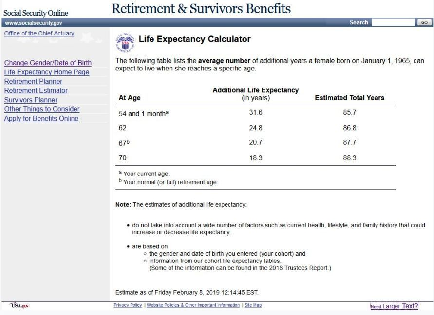 This Ssa Life Expectancy Calculator Shows How Long You Ll Receive