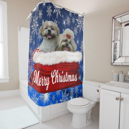 Shih Tzu Shower Curtain Christmas Shower Curtain Zazzle Com