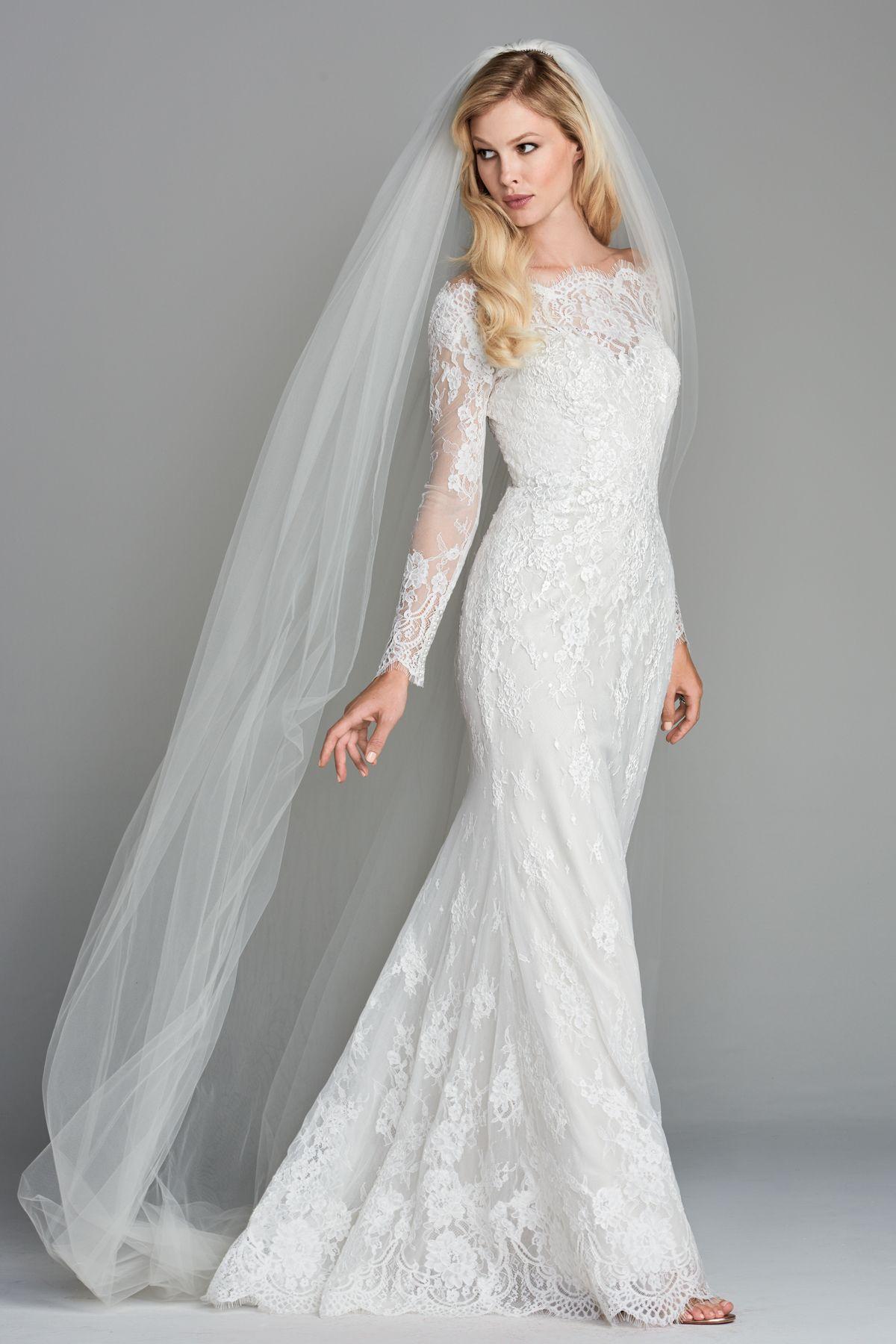 Watters 2018 Kensington Gown. Stunning full lace, long sleeve sheath ...