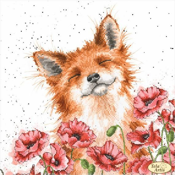 Foxes in poppies Bead Embroidery kit Needlework Ki