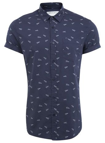 7b2b8541 Navy Plane Printed Shirt | For him | Shirts, Printed shirts, Mens ...