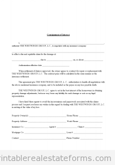 Printable Sample Consignment Of Interest In Insurance Claim Form