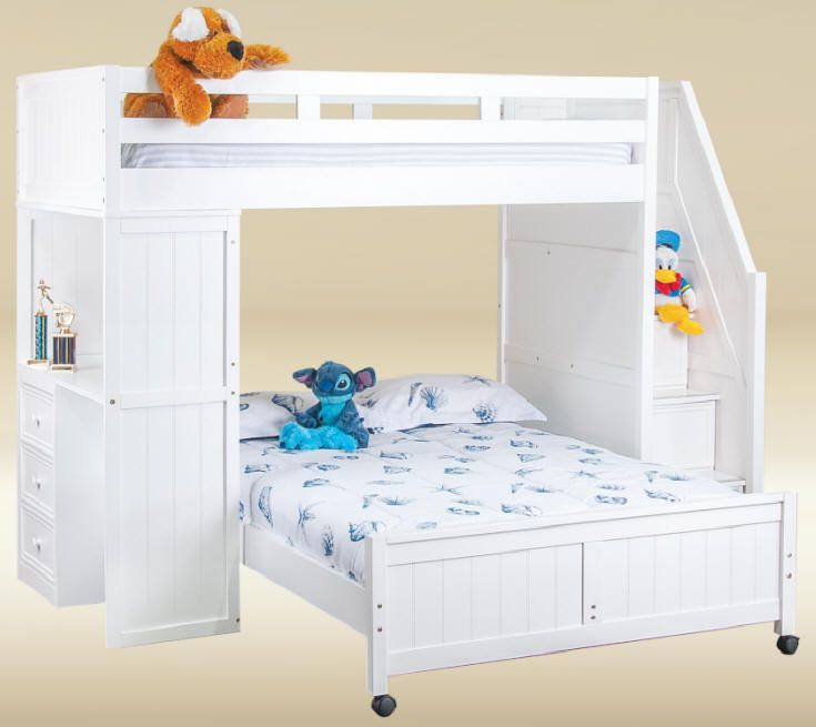 Post Twin Over Full Stairway Study Loft Bed Bunk Beds With