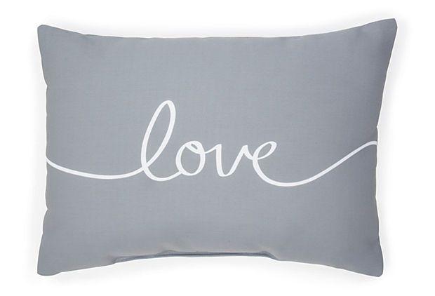 """""""Love"""" 14x20 Pillow, Gray on OneKingsLane.com"""