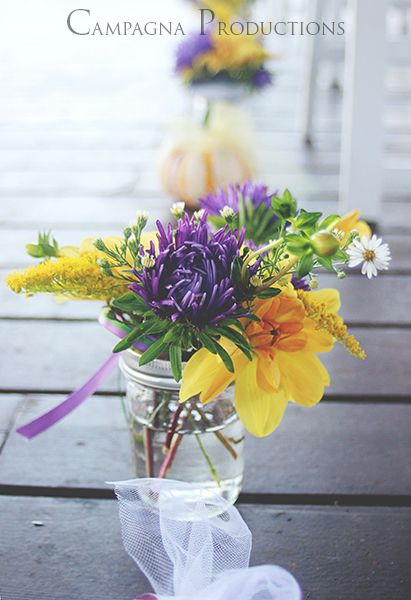 Wedding, aisle, flowers, mason jars, purple, yellow, mardi gras, photography, Washington, Poulsbo, www.facebook.com/campagnaproductions