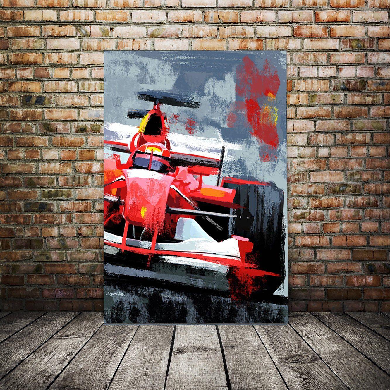 Race Car Art Ferrari F1 Automotive Canvas Print Sports Car Etsy In 2020 Car Art Art Nature Art Painting