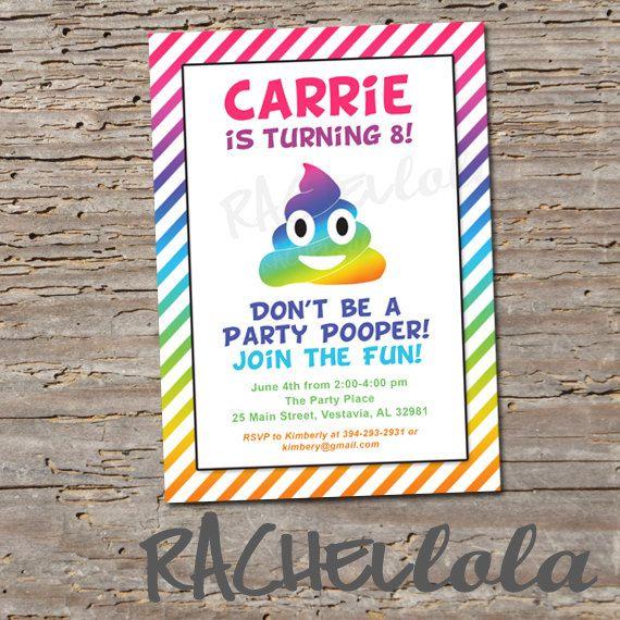 Rainbow Poop Emoji Invitation, Printable, Digital Print