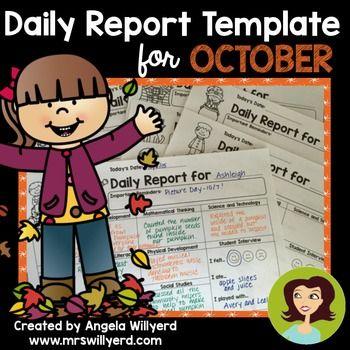 Daily Report Template Parent-Teacher Communication for October - daily report template word