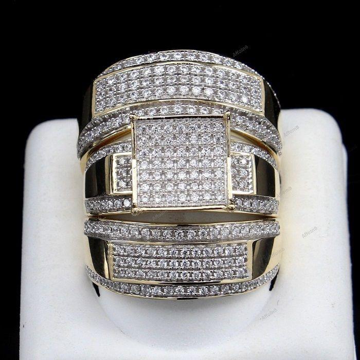 14K White Gold Finish 925 Silver Round Cut Diamond His-Her Trio Wedding Ring Set #Affoin8