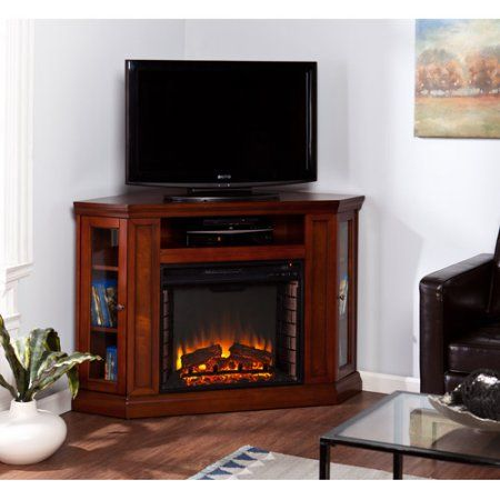 Southern Enterprises Silverado Electric Media Fireplace, for TVs up to 46;, Mahogany, Brown