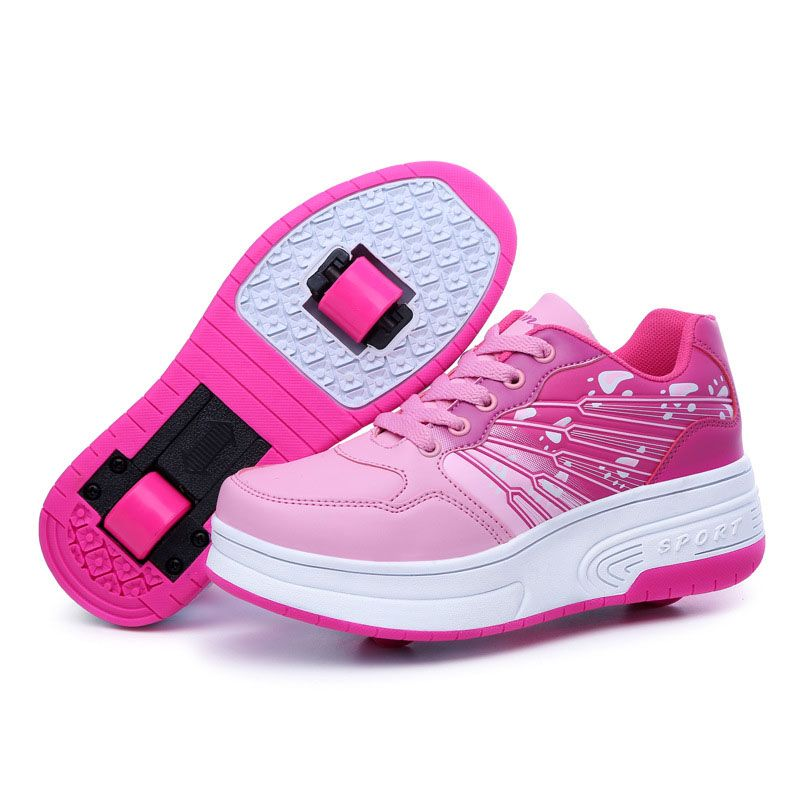 Chic Unisex Kids Roller Skates Shoes Girl Boy Trainer Sneakers Wheels Shoes