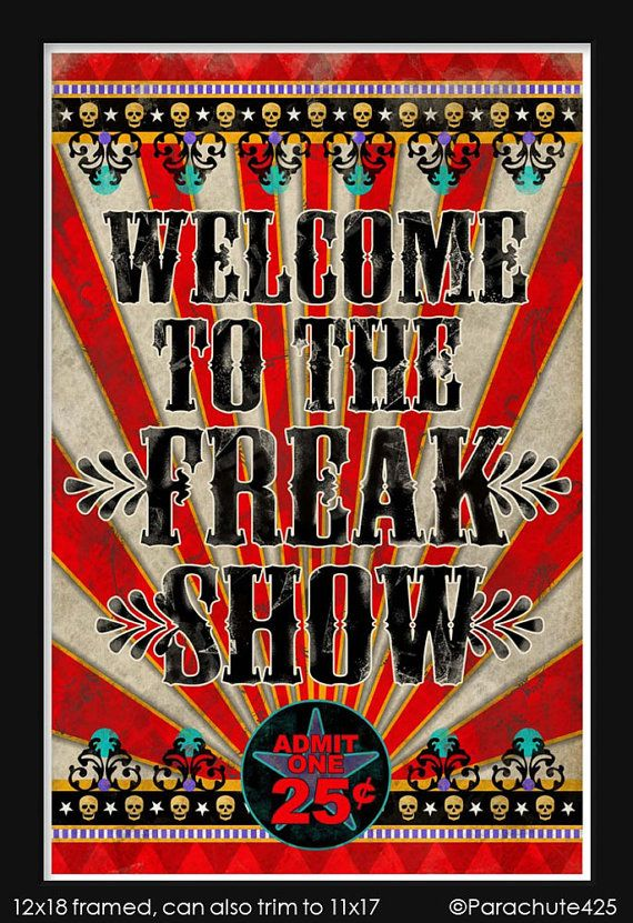 FREAK SHOW Typographic Print Inspired By Vintage Parachute425 More