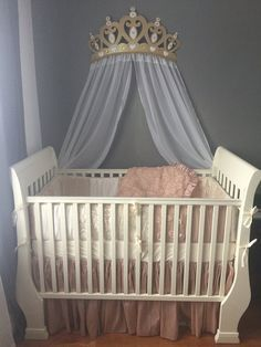 Crib Crown Canopy Wall Decor Gold With Sheer By Wakeupsweetpea Baby Girl Room Baby Room Decor Baby Canopy