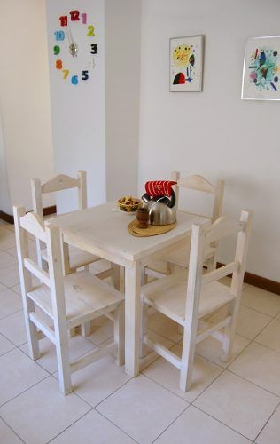 mesa 70x70 + 4 sillas economicas blanco rustico + regalo | Deco by ...