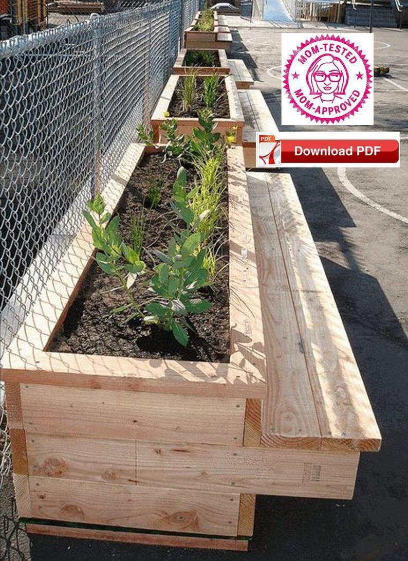 Bench Planter Plan Planter Plan Garden Bench Plan Wood Bench Plan Raised Planter Plan Raised Wood Planter Plan Bench