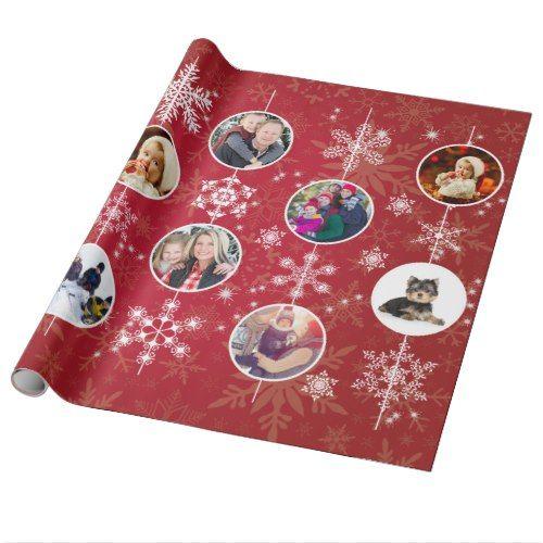 Christmas Snowflakes 10 Favorite Family Photos Red Wrapping Paper | Zazzle.com #floconsdeneigeenpapier