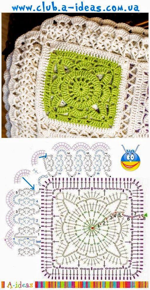 Colcha en tonos de moda con grannys al crochet | Crochet y Dos ...