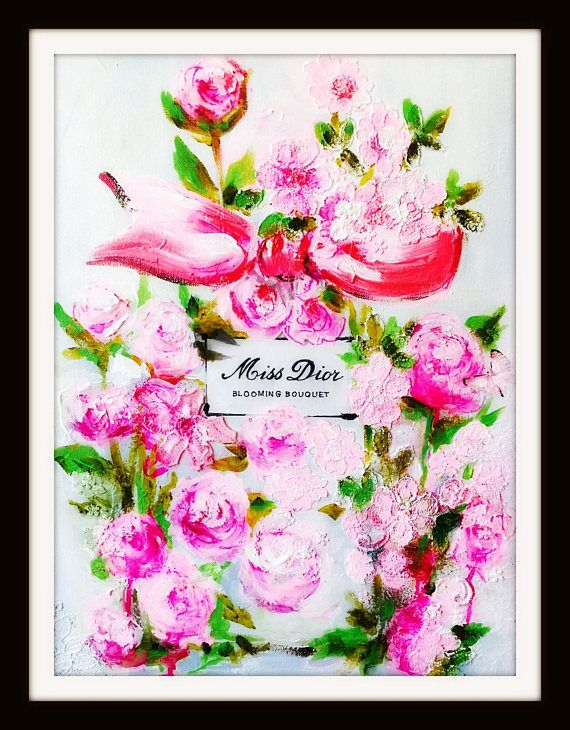 4eff39b81 Fashion Illustration Art Print, Miss Dior by Lana Moes, Floral Art, Artful  Interior, Blooming Bouquet, Pink Wall Decor, Pink Peonies Flowers
