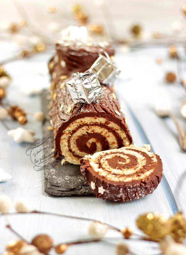 Bûche de Noël roulée traditionnelle au chocolat {facile et rapide}