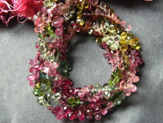 Full 8 strand Multi Tourmaline faceted pear by GemstoneAndBeads, $60.00