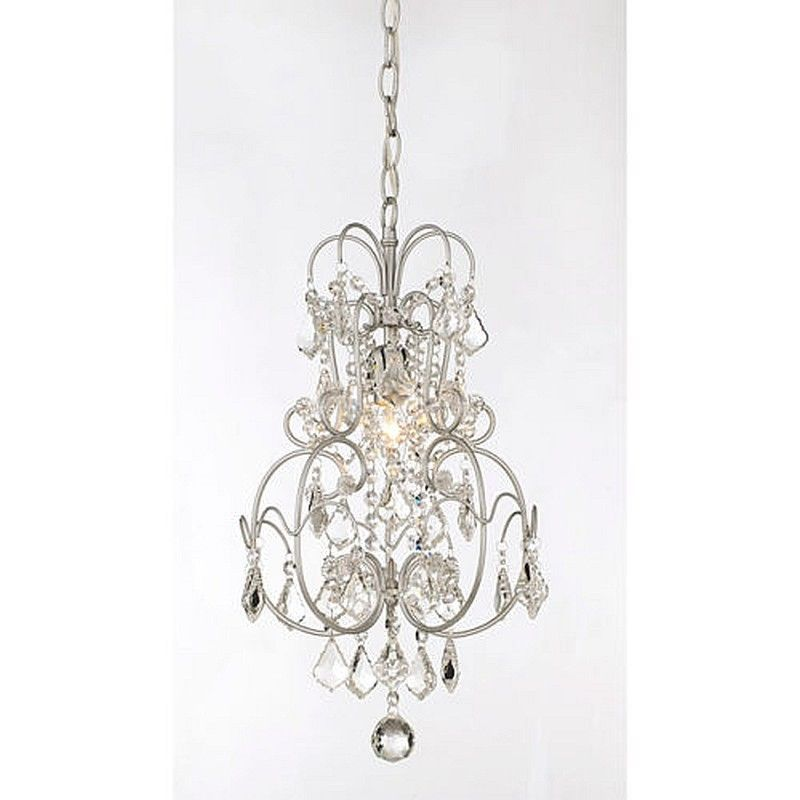 SMALL CRYSTAL CHANDELIER 1 LIGHT Matte Silver Ceiling Hang Fixture Living Room