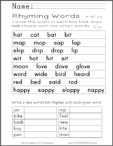 Worksheet Sentence For Rhyming Word For Kids kindergarten rhyming words worksheet free to print pdf file ccss k