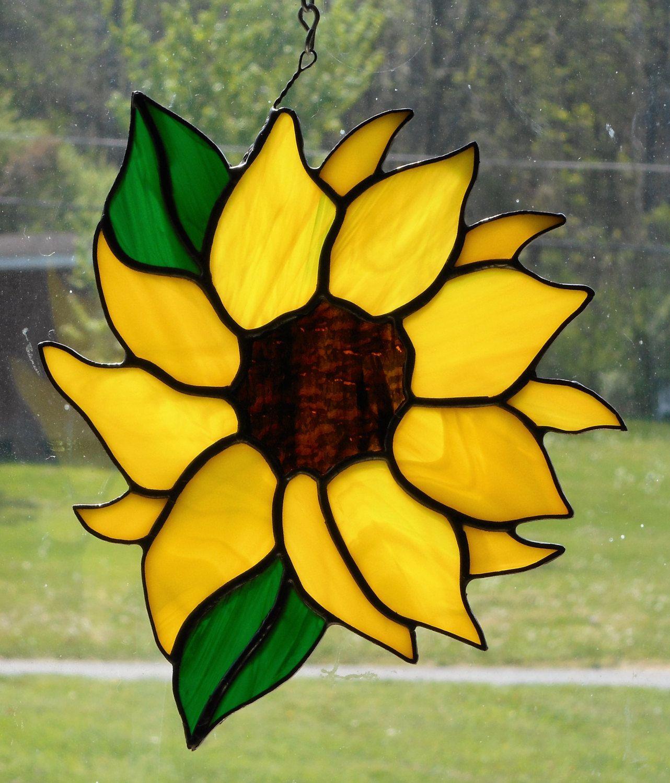 Stained glass sunflower suncatcher sun catcher gardening autumn fall gift harvest helianthus nature gifts glass art