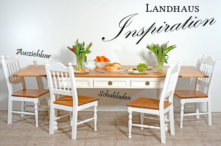 Tisch im Landhausstil Schubladen alle Größen MASSIV AUS HOLZ