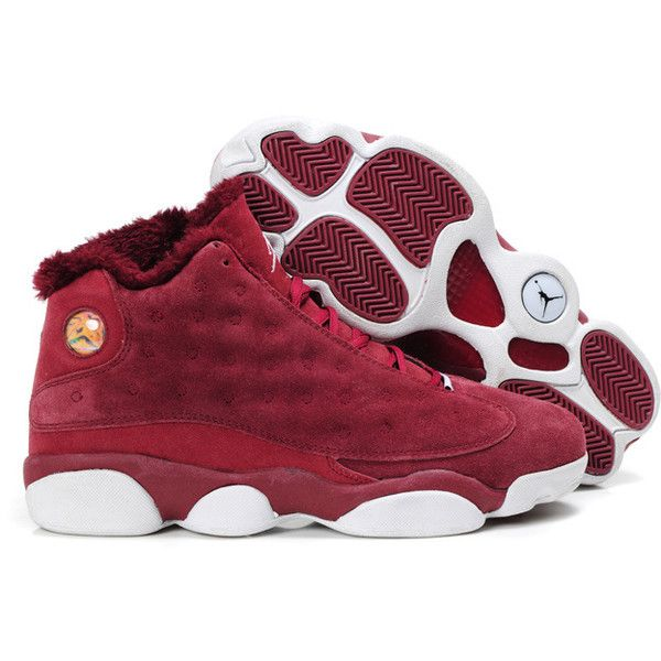 ae7283c7d4f Air Jordan 13 (XIII) Fluffy Flints Burgundy White-370 ( 92) ❤ liked on  Polyvore featuring shoes and jordan s