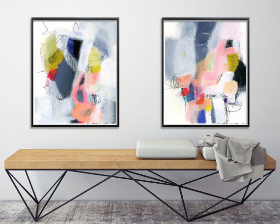 Colorful Abstract Painting Set Set Of Two Abstract Art Print Etsy Colorful Abstract Painting Modern Art Abstract Colorful Abstract Art