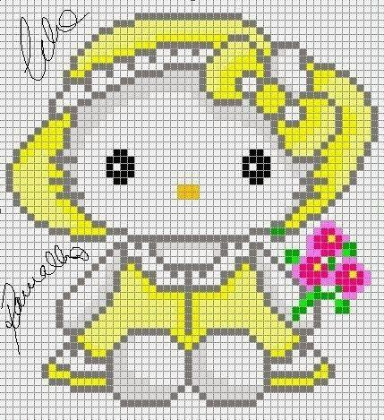 Hello Kitty with flowers perler bead pattern