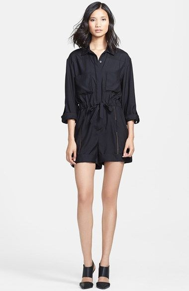 Tamara Mellon Drop Stitch Detail Silk Romper available at #Nordstrom