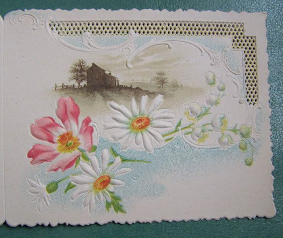 victorian embossed flower card newold stock  etsy
