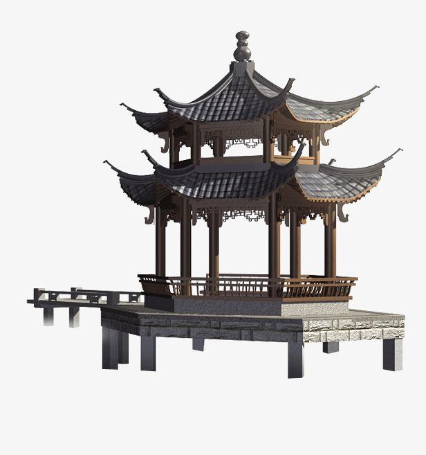 Chinese Pavilion Kiến Truc Bản Vẽ Phong Cảnh
