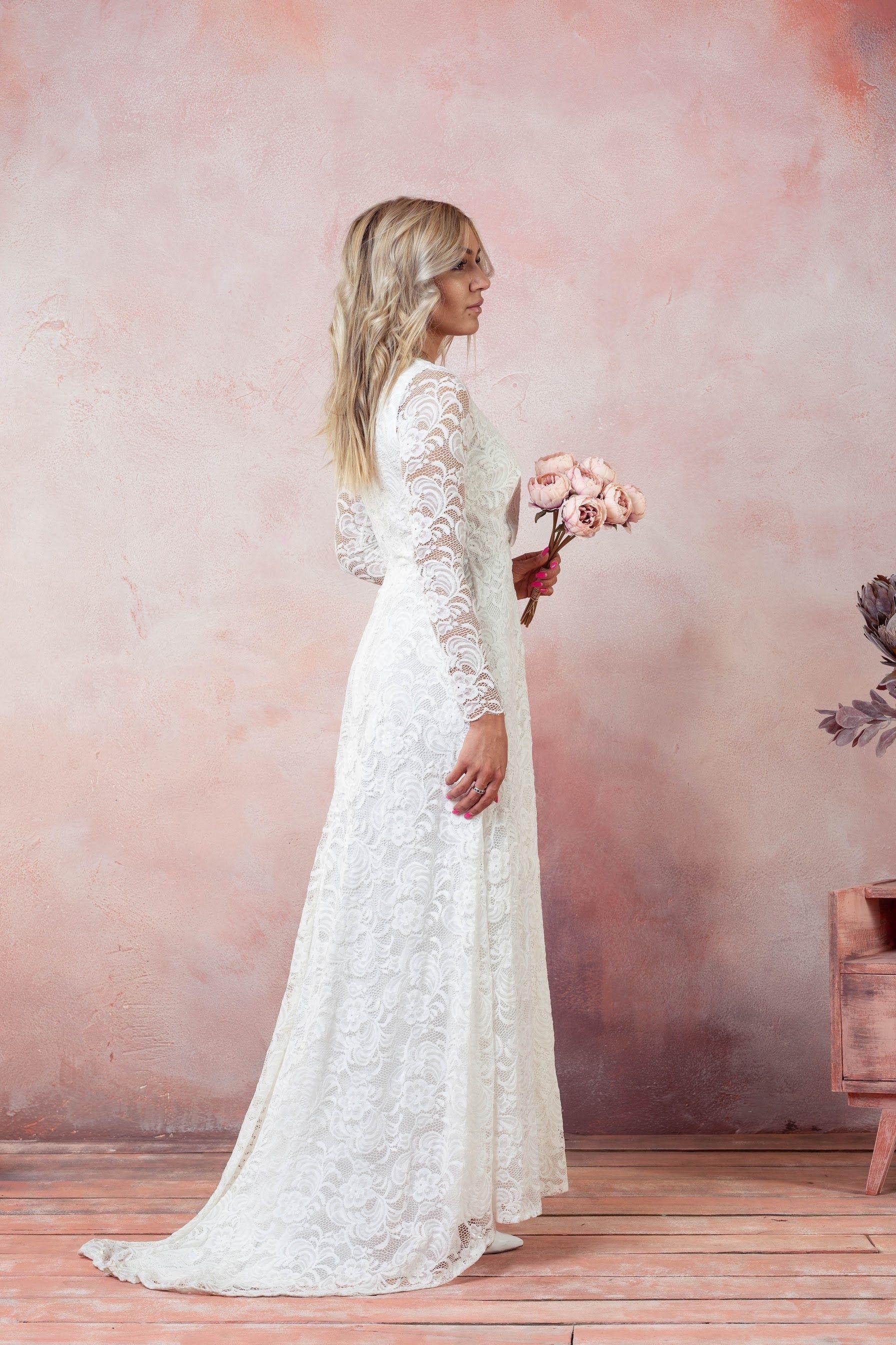Romantic Wedding Dress Beach Boho Lace Dress Bohemian Wedding Gown Long Sleeve Wedding Lace Dress Rustic Bridal Lace Gown In 2020 Lace Dress Boho Bohemian Wedding Gown Wedding Dresses Unique