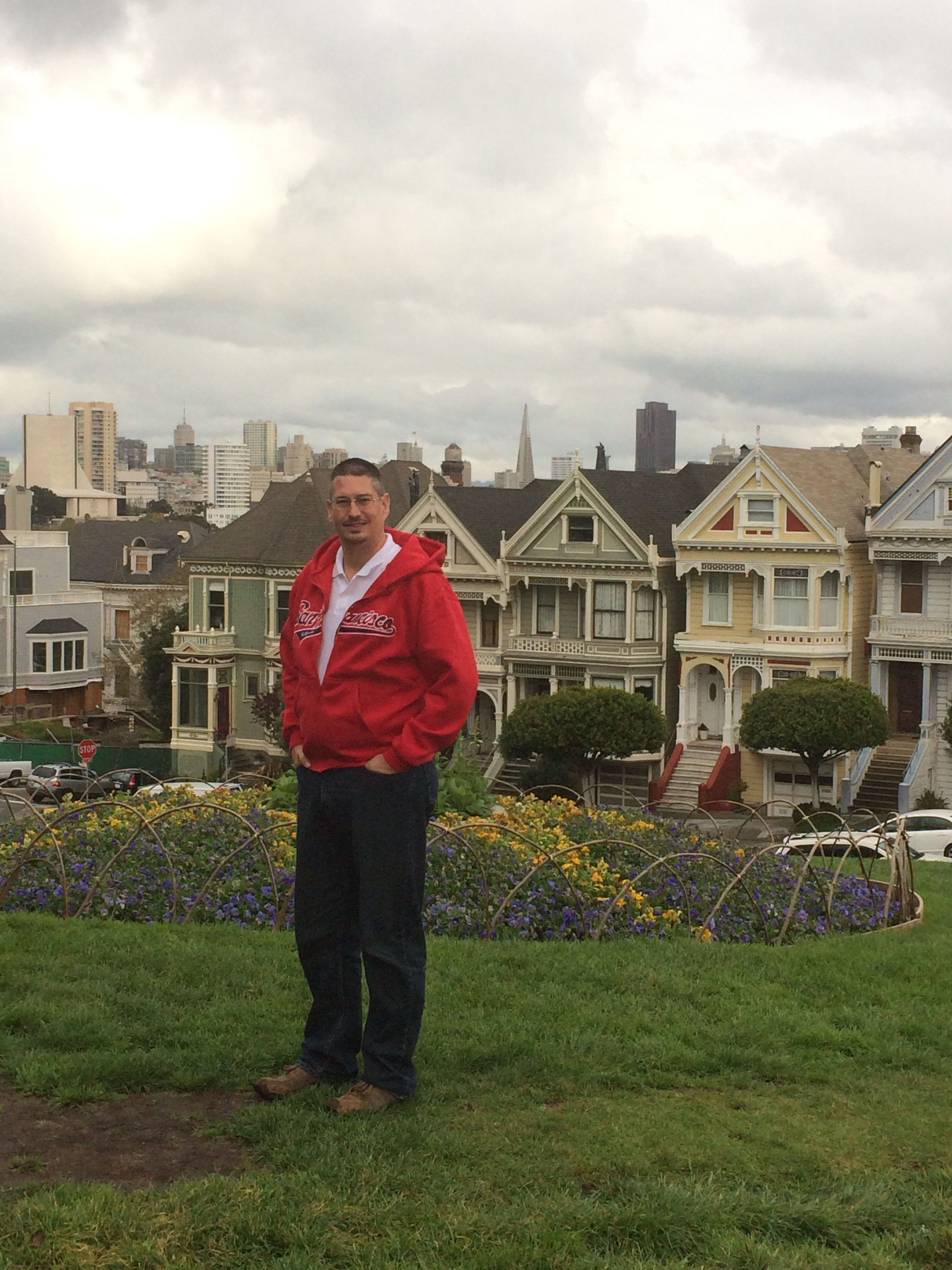Robbie in front of the painted ladies