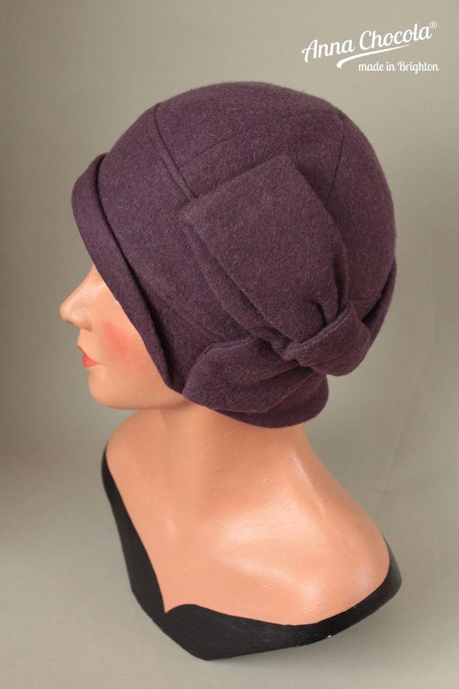 1920s 30s Flapper MAUVE CLOCHE HAT BOW 100% WOOL M/L new vintage ...