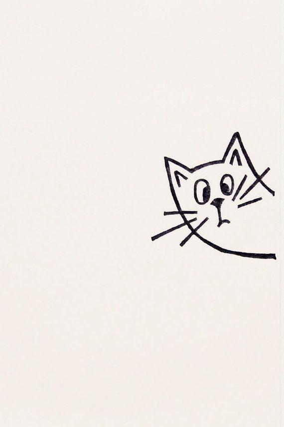 Surprised Cat Stamp Kids Gift Funny Carved Rubber Von WoodlandTale