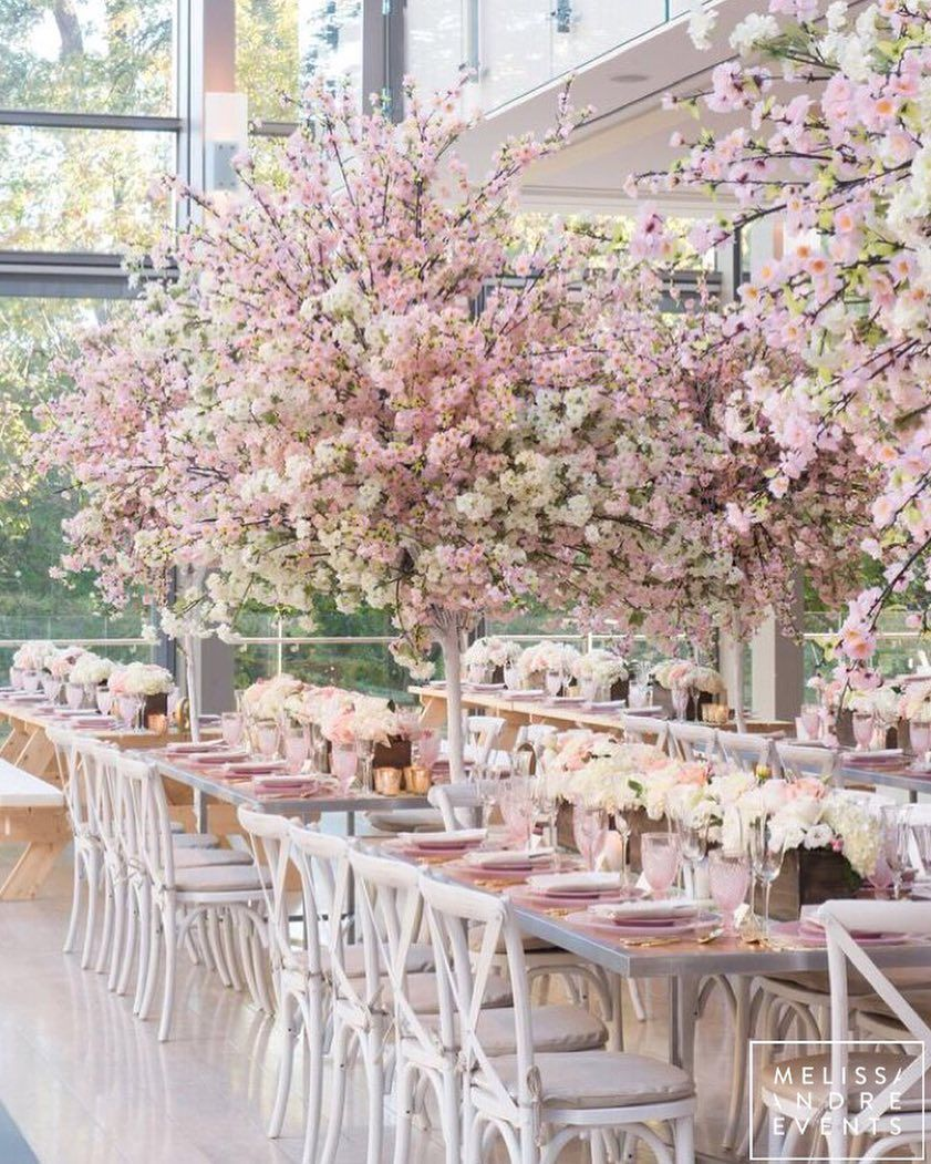 Loverly On Instagram A Black Tie Picnic When I First Met Laura And Dan We Chatted For Rose Gold Wedding Decor Blossom Tree Wedding Cherry Blossom Wedding
