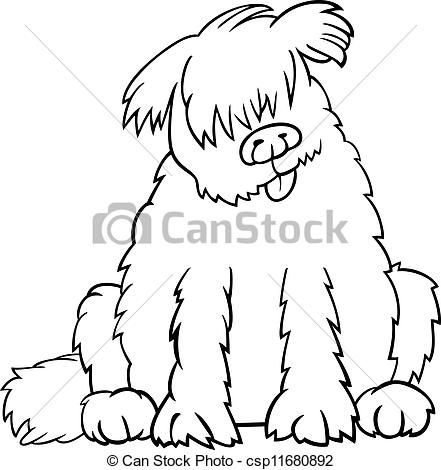 Vector Newfoundland Dog Cartoon For Coloring Book Stock